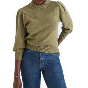 Madewell Eaton Dotted Puff Sleeve Sweater